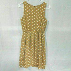 J Crew Tan Polka Dot Sleeveless Dress Womens 0